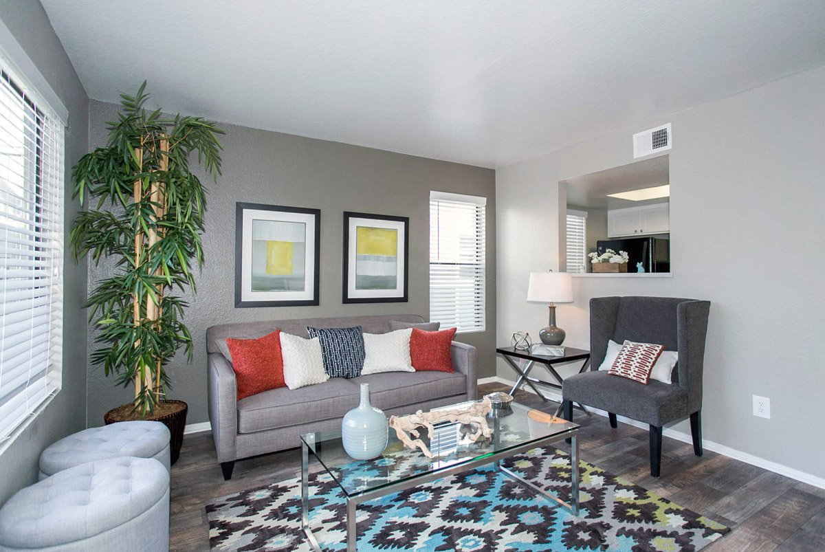 Living room setup with rental furniture from Brook Furniture Rental  at Diamon Hillside Apartments