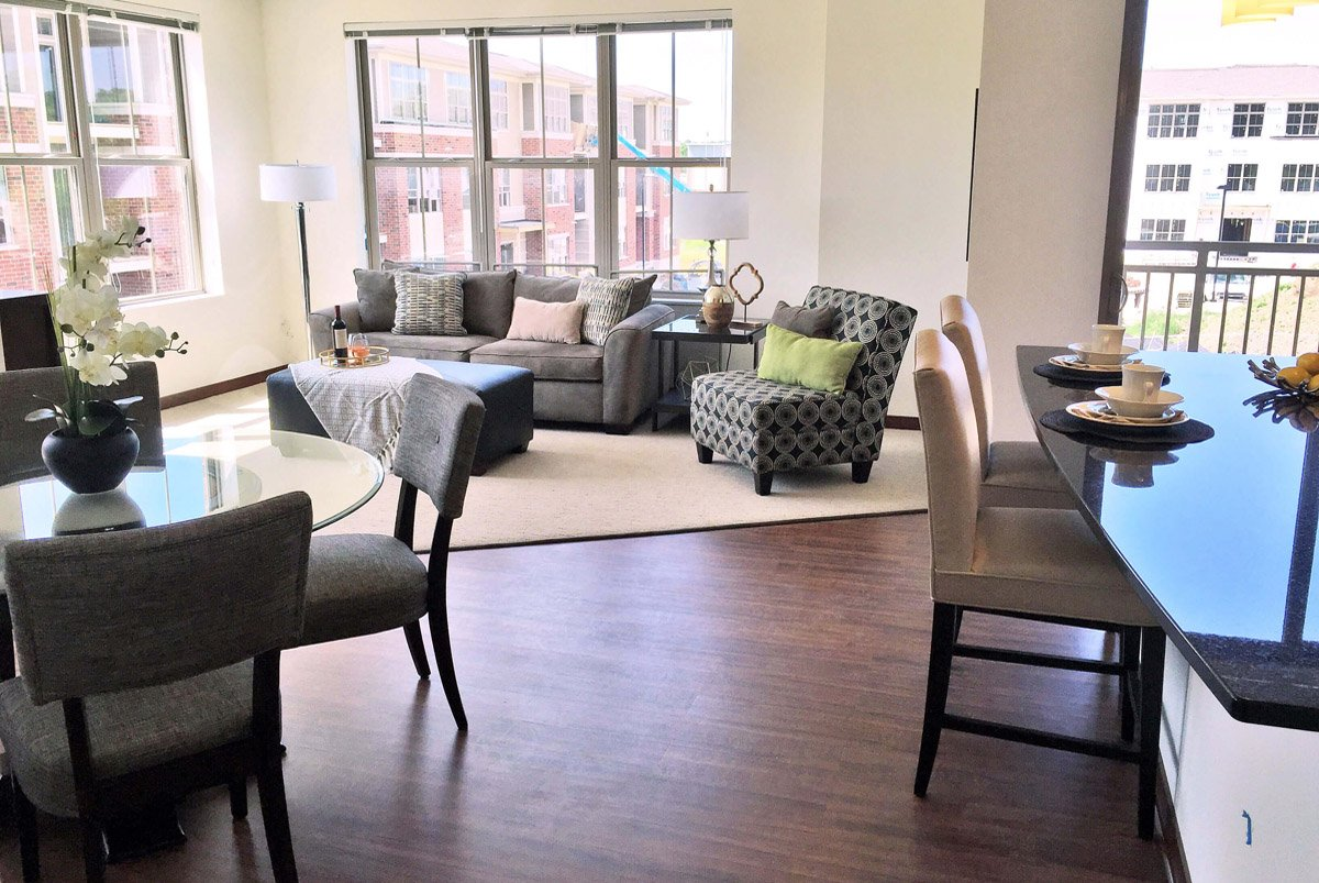 Living room setup with rental furniture from Brook Furniture Rental at Lily Perserve