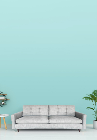 Image of sofa on teal background with accompanying decor